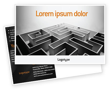 Business Concepts: Gray Labyrinth Postcard Template #02270