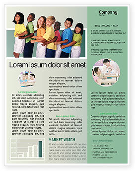 Children Of The World Newsletter Template, 02279, People — PoweredTemplate.com