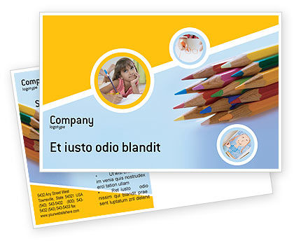 Pencil Postcard Template, 02294, Education & Training — PoweredTemplate.com