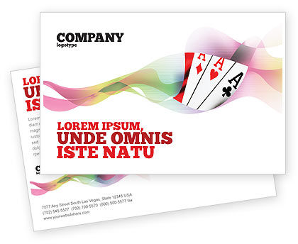 Playing Cards Postcard Template, 02295, Careers/Industry — PoweredTemplate.com