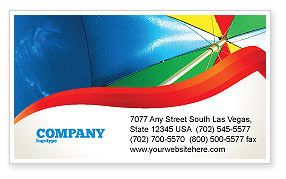 Holiday/Special Occasion: Umbrella on the Beach Business Card Template #02298