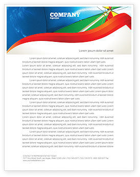 Holiday/Special Occasion: Umbrella on the Beach Letterhead Template #02298