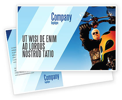 Cars/Transportation: Biker Postcard Template #02315