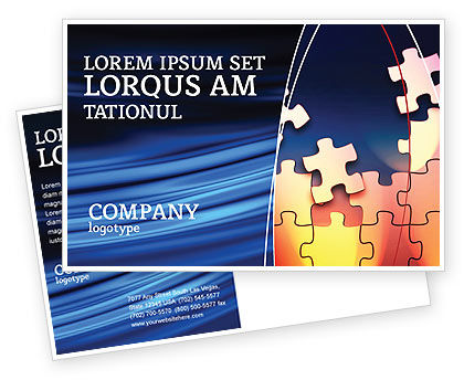 Game Puzzle Postcard Template, 02317, Consulting — PoweredTemplate.com