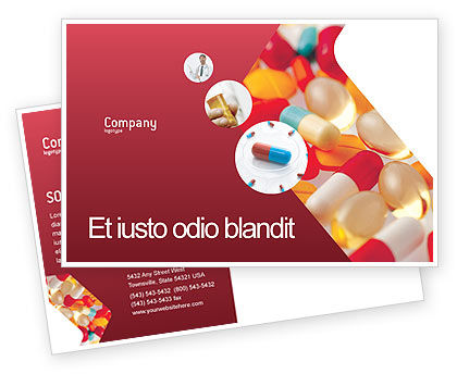 Medical: Pills In Collage Postcard Template #02319