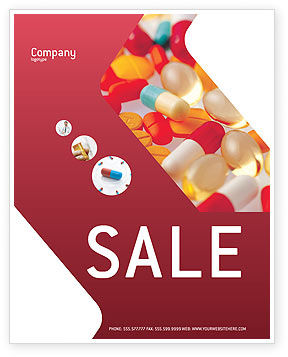 Medical: Pills In Collage Sale Poster Template #02319