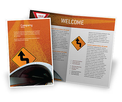 Tunnel On An Orange Background Brochure Template, 02320, Construction — PoweredTemplate.com