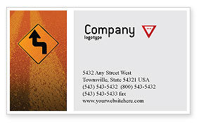 Construction: Tunnel On An Orange Background Business Card Template #02320