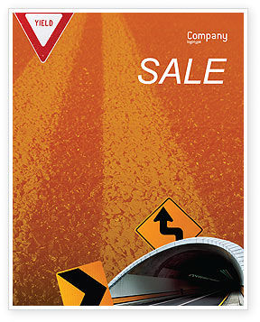 Construction: Tunnel On An Orange Background Sale Poster Template #02320