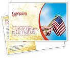 Flags/International: USA Flag Postcard Template #02329