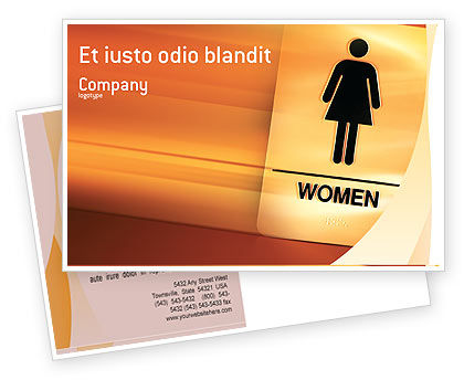 Business Concepts: Icon Women Postcard Template #02357