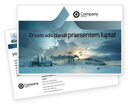 Utilities/Industrial: Power Station Postcard Template #02362