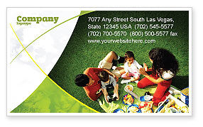 People: Family Picnic Business Card Template #02364