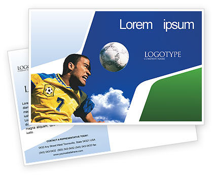 Head In Soccer Postcard Template, 02365, Sports — PoweredTemplate.com
