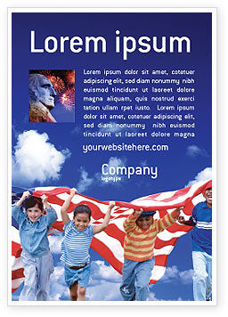 Children Of The USA Ad Template, 02377, America — PoweredTemplate.com