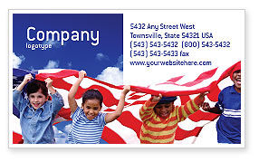 Children Of The USA Business Card Template, 02377, America — PoweredTemplate.com