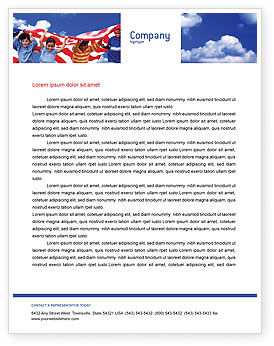 Children Of The USA Letterhead Template, 02377, America — PoweredTemplate.com