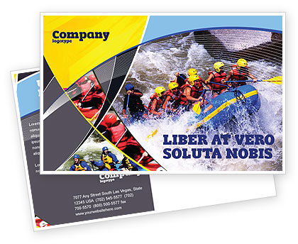 Sports: Rafting Postcard Template #02380