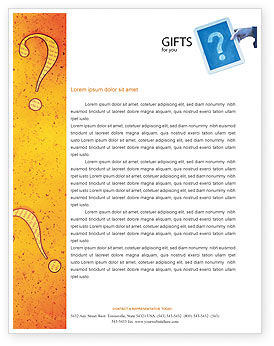Business Concepts: Question Mark In Quiz Letterhead Template #02404