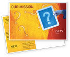 Business Concepts: Question Mark In Quiz Postcard Template #02404