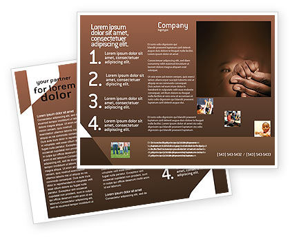 Baby Fingers Brochure Template, 02409, People — PoweredTemplate.com