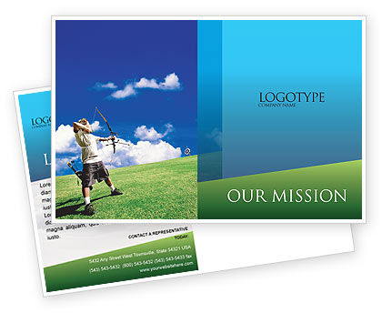 Archery Postcard Template, 02411, Sports — PoweredTemplate.com