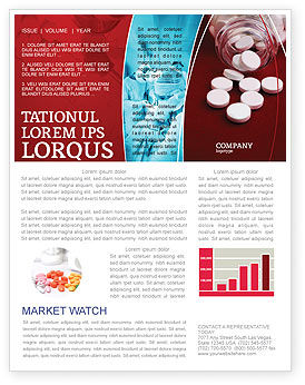 Medical: Pills From The Bottle Newsletter Template #02414