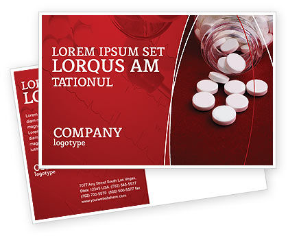 Medical: Pills From The Bottle Postcard Template #02414