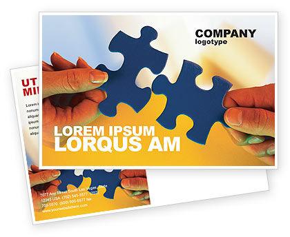 Business Concepts: Pieces of Puzzle Postcard Template #02430
