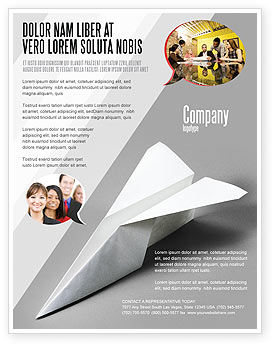 Construction: Paper Airplane Flyer Template #02441