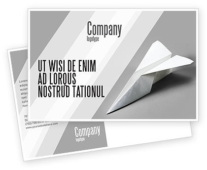 Construction: Paper Airplane Postcard Template #02441