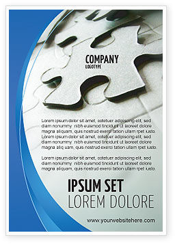 Business: Gray Puzzel In Een Blauwe Halve Maan Advertentie Template #02451
