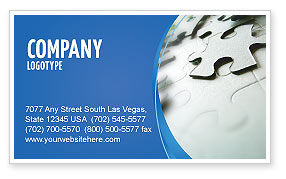 Business: Gray Puzzle In A Blue Crescent Business Card Template #02451