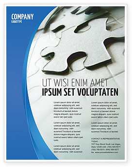 Business: Gray Puzzle In A Blue Crescent Flyer Template #02451