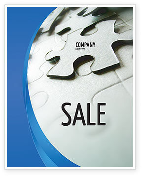 Business: Gray Puzzle In A Blue Crescent Sale Poster Template #02451