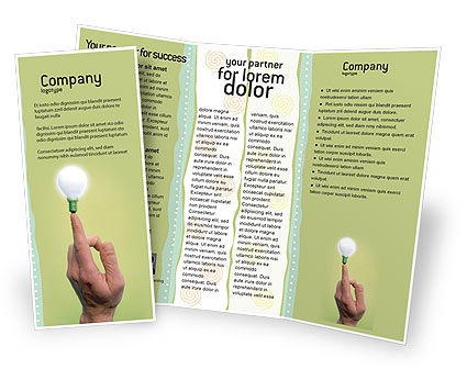 Business Concepts: Lamp on Finger Brochure Template #02453