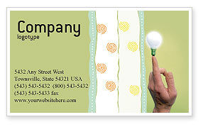 Business Concepts: Lamp on Finger Business Card Template #02453