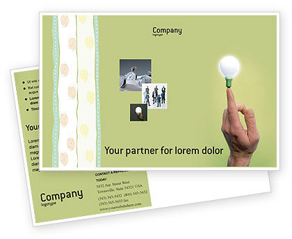 Lamp on Finger Postcard Template, 02453, Business Concepts — PoweredTemplate.com