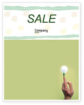 Business Concepts: Lamp on Finger Sale Poster Template #02453