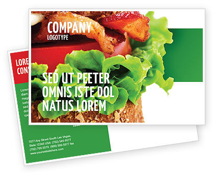 Burger Postcard Template, 02463, Food & Beverage — PoweredTemplate.com