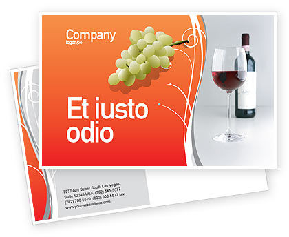 Bottle of Wine Postcard Template, 02476, Food & Beverage — PoweredTemplate.com