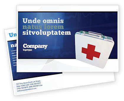 Medical: First Aid Postcard Template #02490