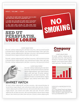 Medical: No Smoking Newsletter Template #02493