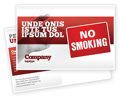 Medical: No Smoking Postcard Template #02493