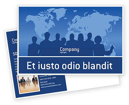 Globalization Postcard Template, 02495, Global — PoweredTemplate.com