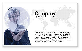 Global: Glass Globe Business Card Template #02509