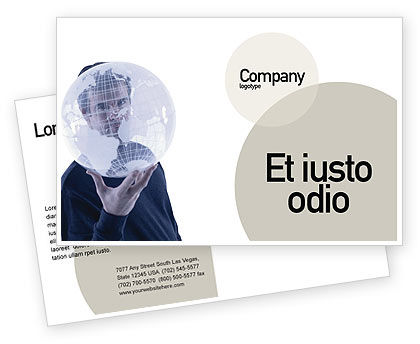 Glass Globe Postcard Template, 02509, Global — PoweredTemplate.com