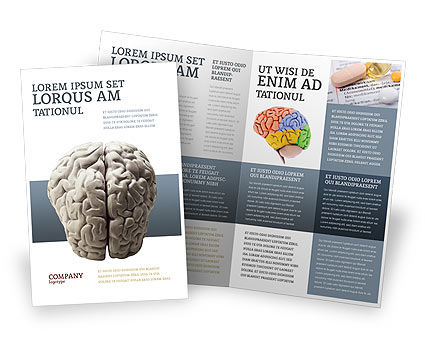 Medical: Brain In Gray Brochure Template #02541