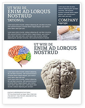 Brain In Gray Flyer Template, 02541, Medical — PoweredTemplate.com