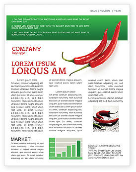 Hot Pepper Newsletter Template, 02550, Food & Beverage — PoweredTemplate.com